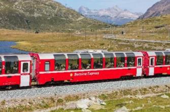 RhB Bernina Express (New Logo) 4 Car Add On Coach SetRhB Bernina Express (New Logo) 4 Car Add On Coach Set