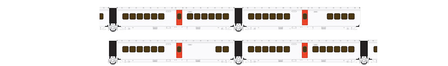 UAC TurboTrain Canadian National 4 Car Add-on Coach Set IC-31 – IC-30 – IC-35 – IC-33