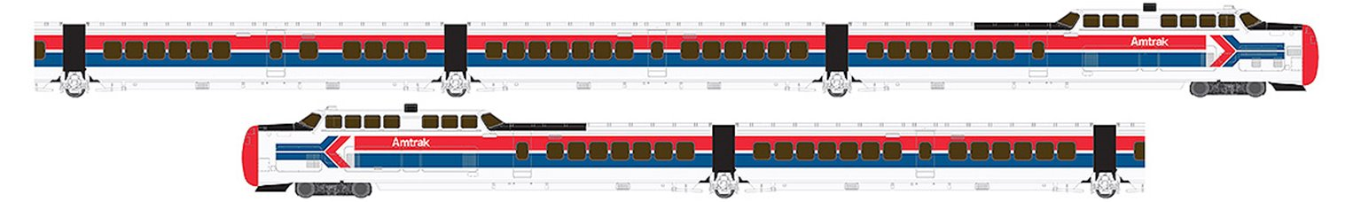 UAC TurboTrain Late Amtrak 5 Car Unit PCD-28 – IC-36 – IC-29 – IC-37 – PDC-29 - DC/DCC/Sound