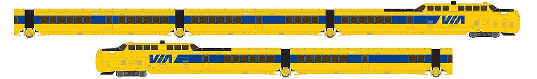 UAC TurboTrain VIA Rail Canada 5 Car Unit PCD-27 – IC-31 – IC-30 – IC-33 – PDC-26 - DC/Silent