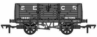 SECR 1355 7 plank Open Wagon - SECR Grey #12221