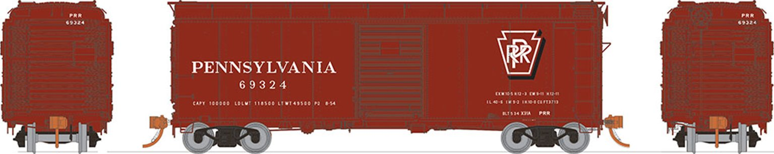 HO PRR X31A Single-Door Boxcar: Shadow Keystone - Early