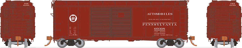 HO PRR X31A Double-Door Boxcar: Circle Keystone - Automobile