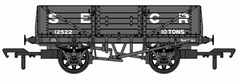 SECR 1347 5 Plank Open Wagon - SECR Grey #12522