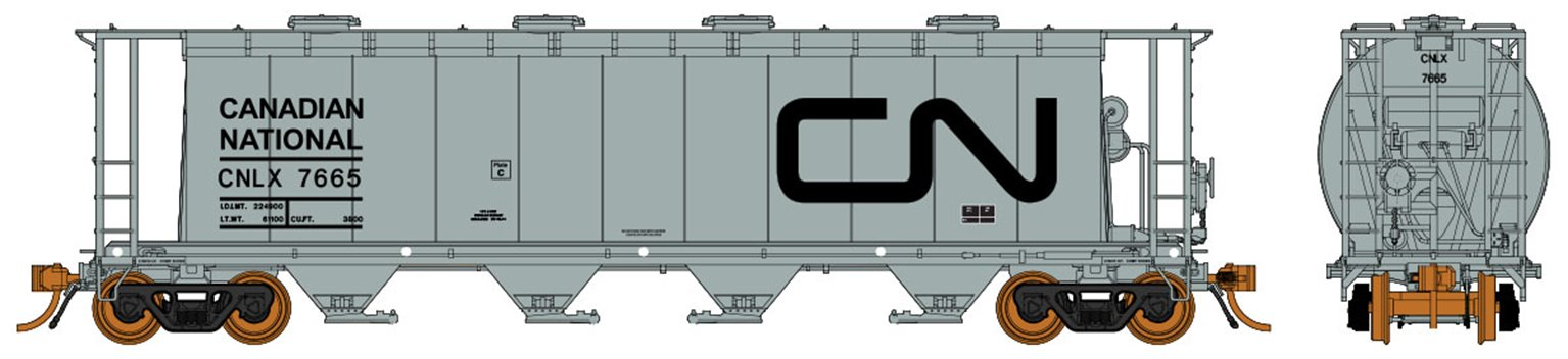 Ultimate Canadian 3800 u ft Covered Hopper - CNLX Grey Single Car