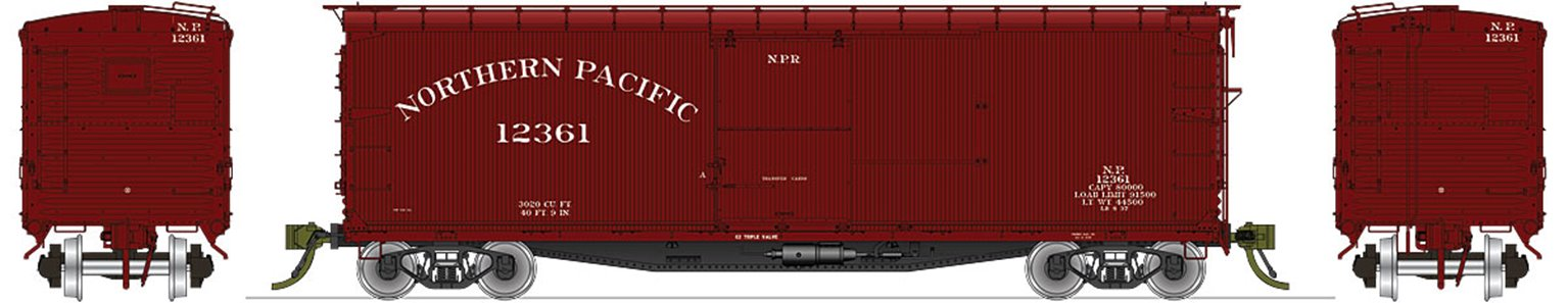 NP 10000-series DS Boxcar Pre-War 1923-1938 K-brakes, red ends & roof - 4 Pack
