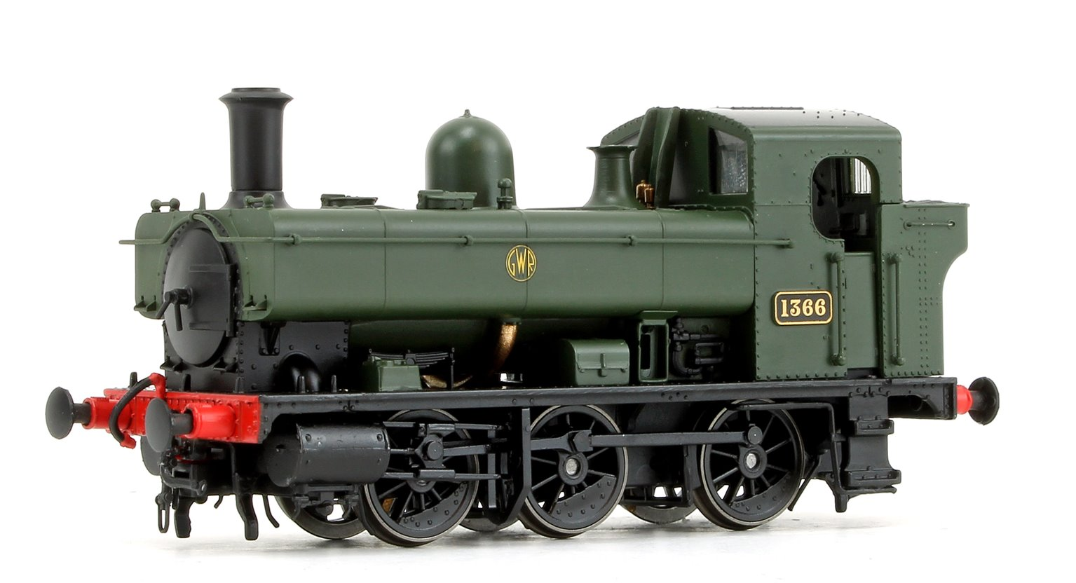 GWR 1366 Class 0-6-0 Tank Locomotive No.1366 in GWR green with shirtbutton