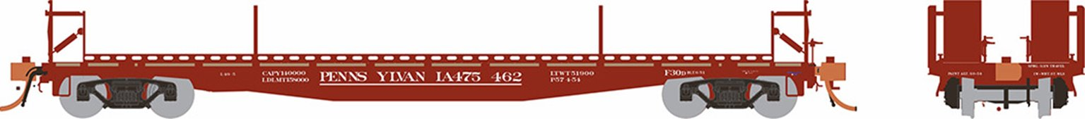 HO F30D 50' TOFC Flat Car: PRR Delivery - 6 pack
