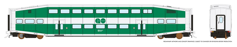 HO BiLevel Commuter Car - GO Transit - 1 pack Unnumbered Car