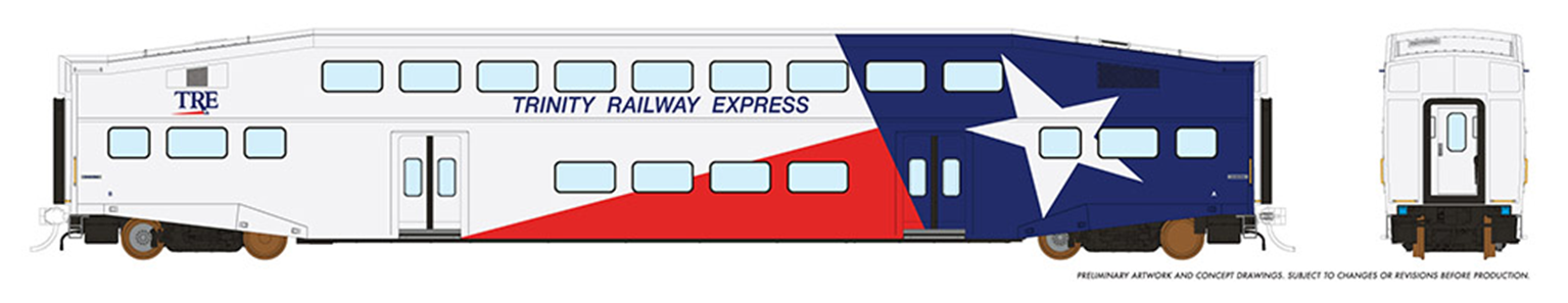 HO BiLevel Commuter Car - Trinity Railway Express (TRE, Dallas/Fort Worth) - 1 pack Unnumbered Car