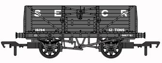 SECR 1355 7 plank Open Wagon - SECR Grey #16194