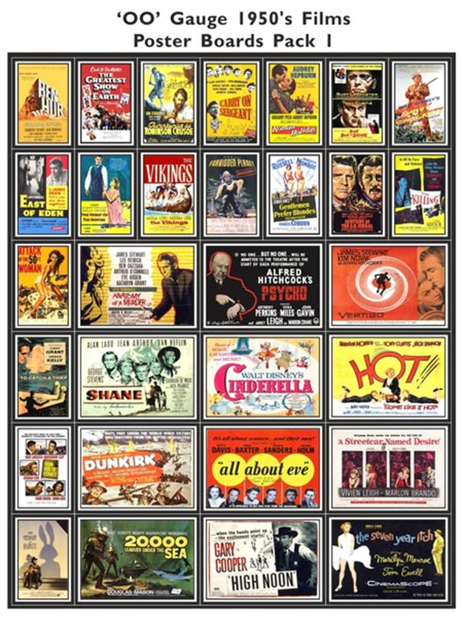 1950's Film Poster Boards Pack 1