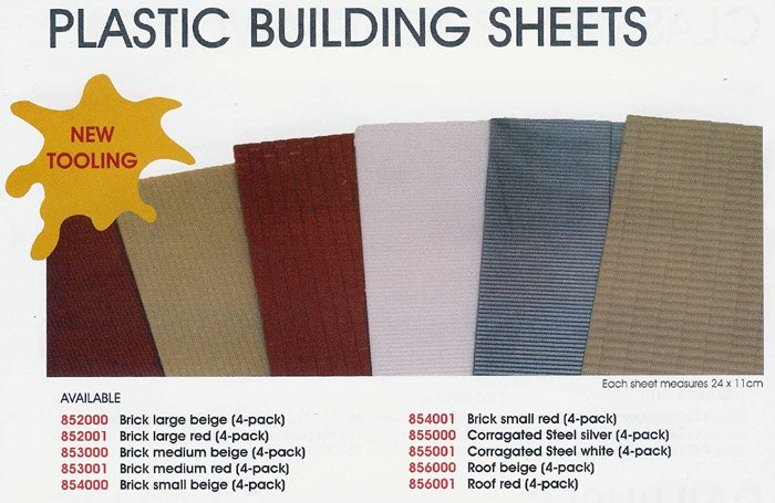 Plastic building sheets - 4 Pack (corragated steel white)