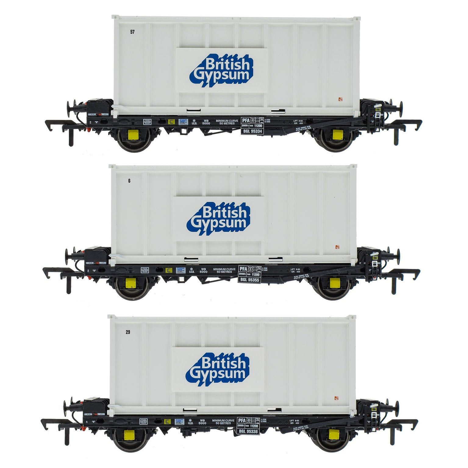 Set of 3 PFA 2 Axle Container Flat Wagons with Gypsum Container (Pack U)