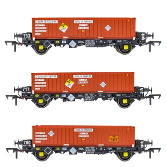 Set of 3 PFA 2 Axle Container Wagons with DRS LLNW - Nuclear Half Height Containers (Pack Q)