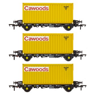 Set of 3 PFA 2 Axle Container Flat Wagons with Cawoods Coal Containers (Pack T)
