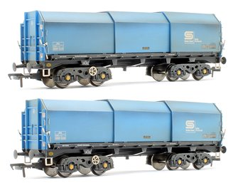 Custom Finished JSA Bogie Covered Steel Wagon Twin Pack - British Steel 2 - BSSP 4036, BSSP 4048