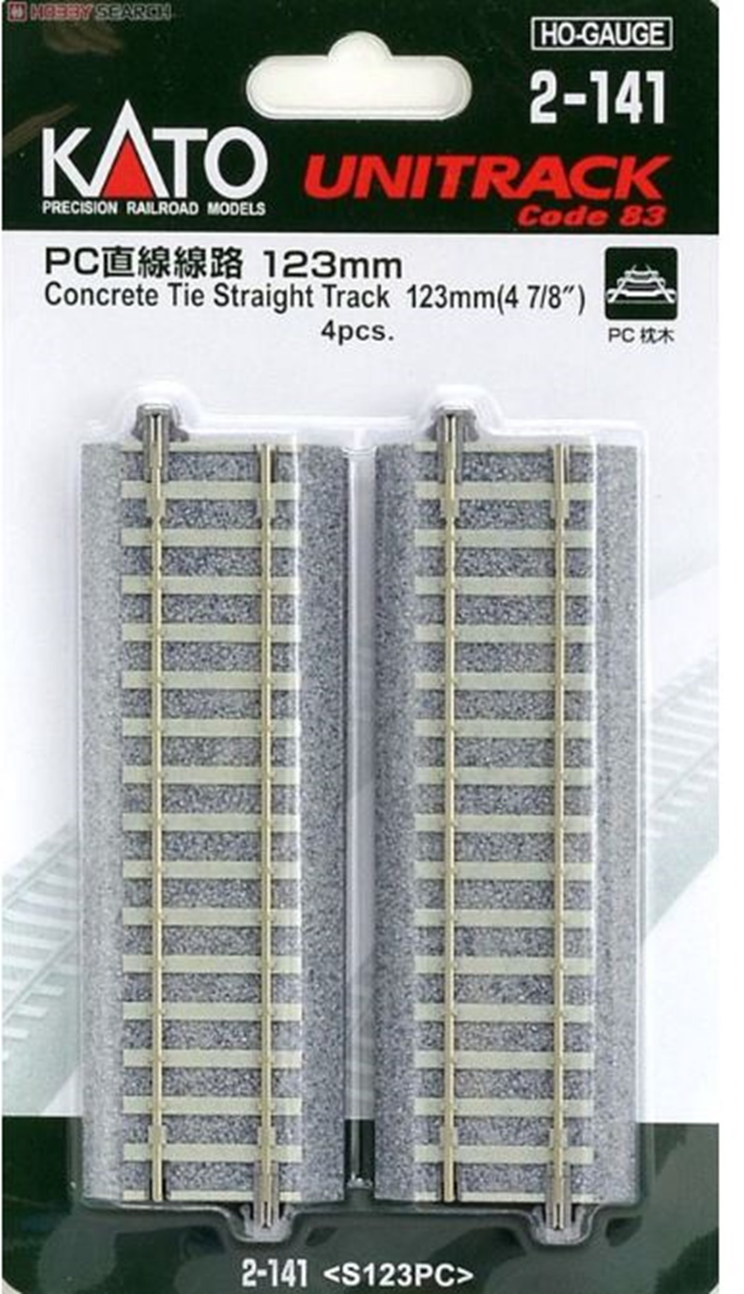 Unitrack (S123PC) CS Straight Track 123mm 4pcs