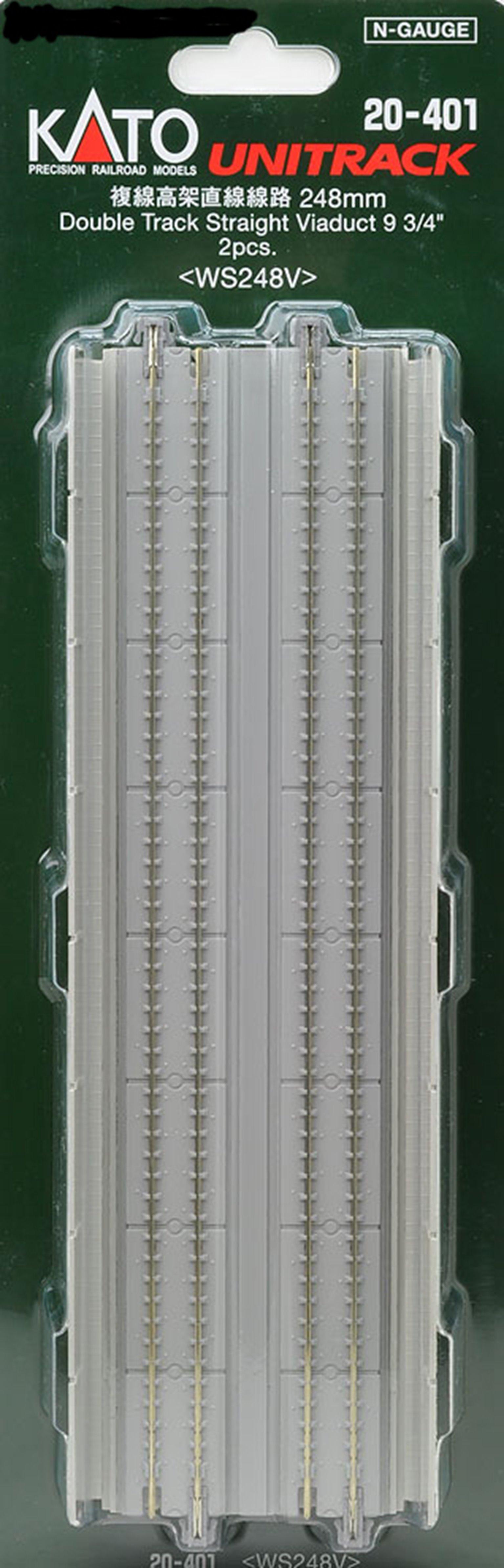 Kato 20-401 Pre-Cast Concrete Double Elevated Track 248mm Straight (2)
