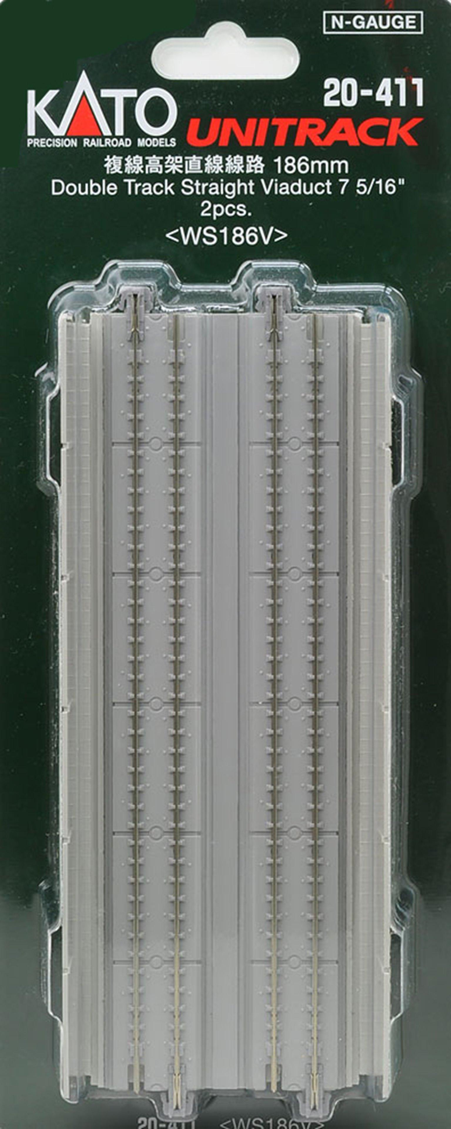 Kato 20-411 Pre-Cast Concrete Double Elevated Track 186mm Straight (2)