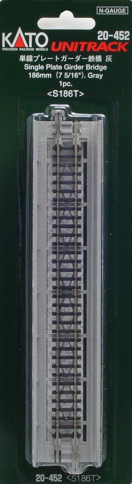 Kato 20-452 Single Track Plate Girder Bridge 186mm Grey