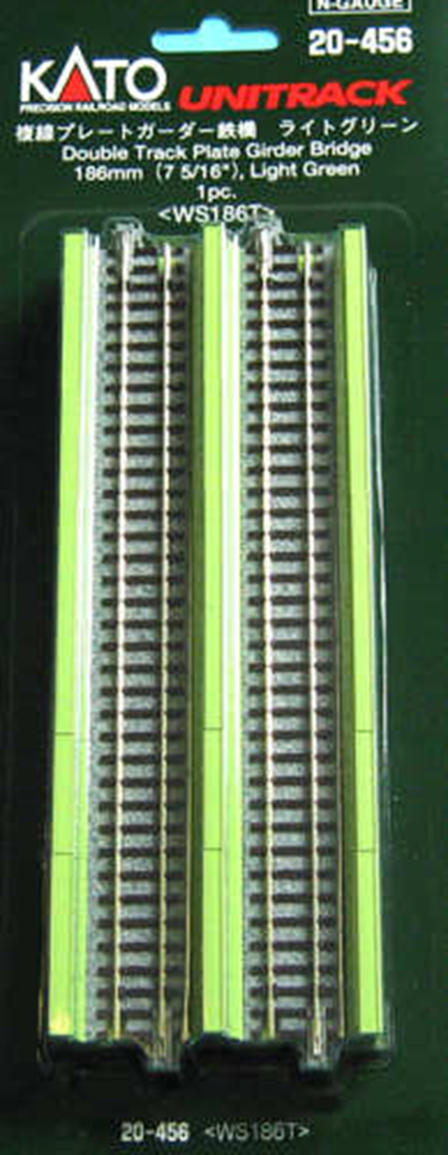 Kato 20-456 Double Track Plate Bridge 186mm Light Green