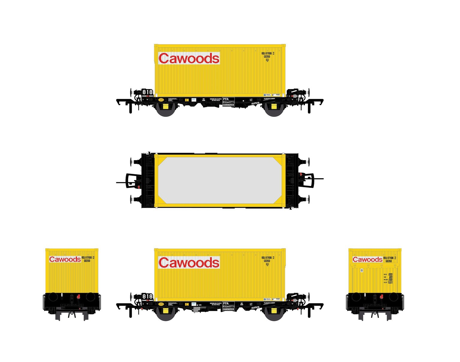 Set of 3 PFA 2 Axle Container Flat Wagons with Cawoods Coal Containers (Pack E)