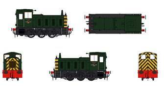 Class 03 (Un-numbered) BR Green with wasp stripes Diesel Shunter (Conical Exhaust)