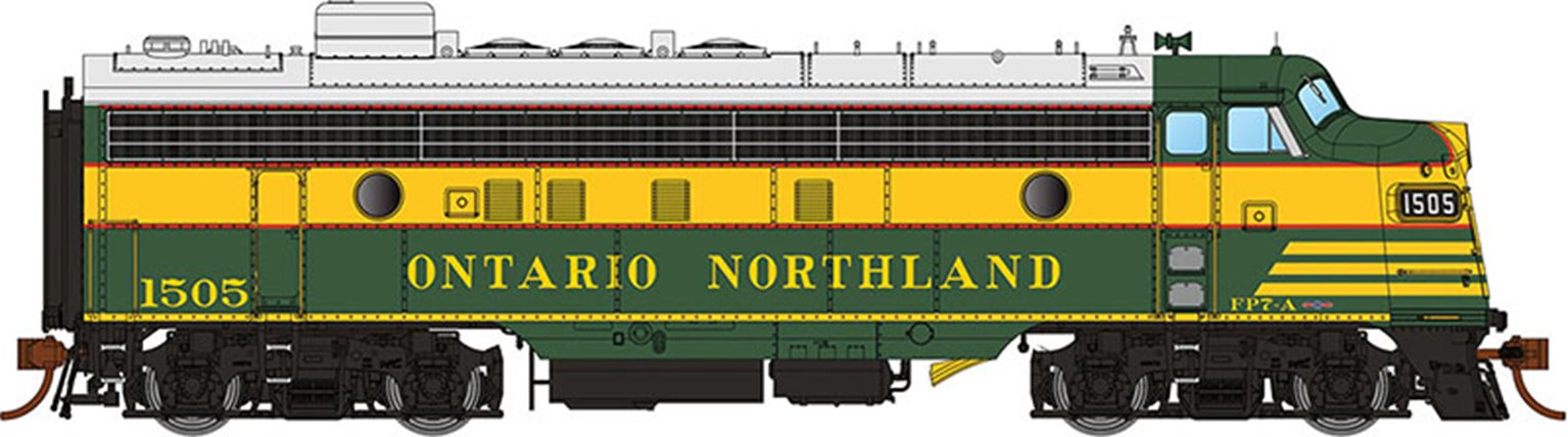 GMD FP7 Locomotive - Ontario Northland Early #1501 - DCC Silent