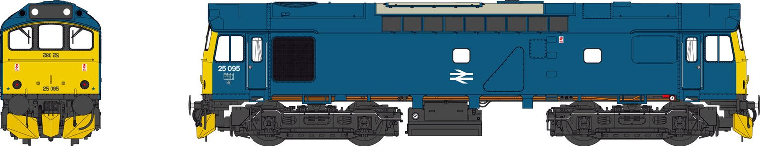 Class 25 BR Rail Blue 25095 (with cab front numbers)