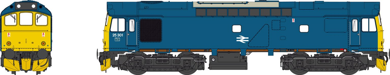 Class 25 BR Rail Blue 25301 (domino headcodes)