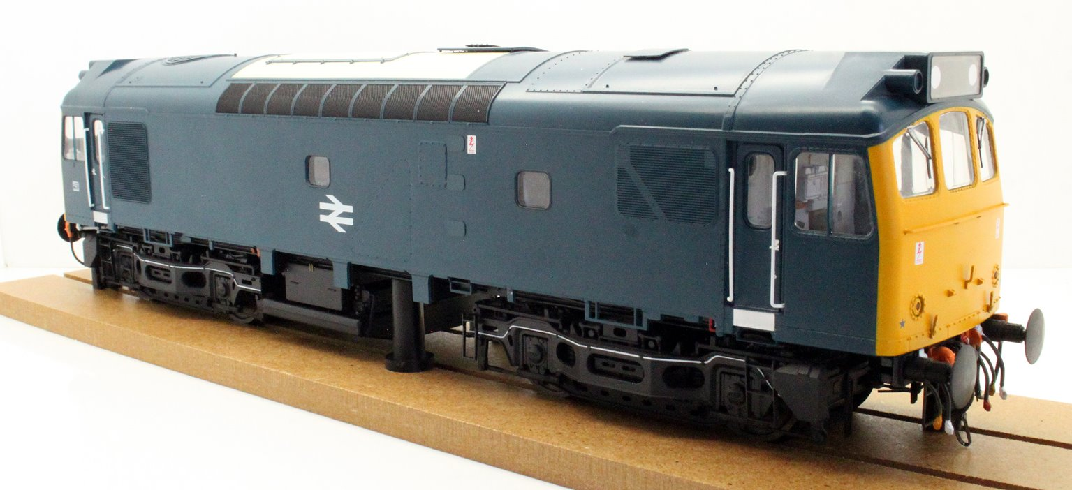 Class 25/3 BR blue with full yellow ends; TOPS era with single double arrow centrally on the bodyside