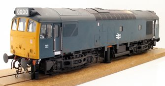 Class 25/3 BR blue with full yellow ends - WEATHERED; TOPS era with single double arrow centrally on the bodyside