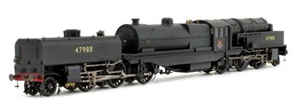 Beyer Garratt 2-6-0 0-6-2 47988 in BR black with early emblem and revolving coal bunker design - lightly weathered