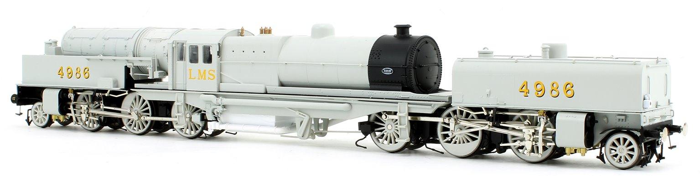 Beyer Garratt 2-6-0 0-6-2 4986 in LMS workshop photographic grey with revolving coal bunker design