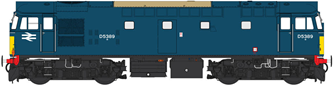 Class 27 BR early blue D5389 (small yellow panels)
