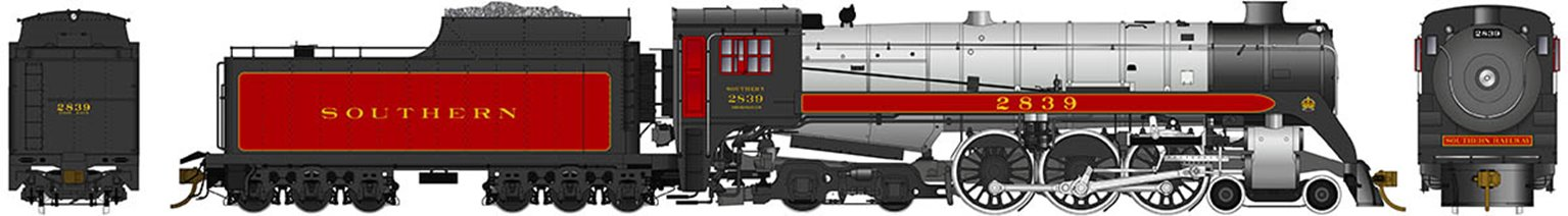 Southern Railway Class H1c 4-6-4 Royal Hudson #2839 with Coal Tender Commonwealth Trucks - DCC Sound