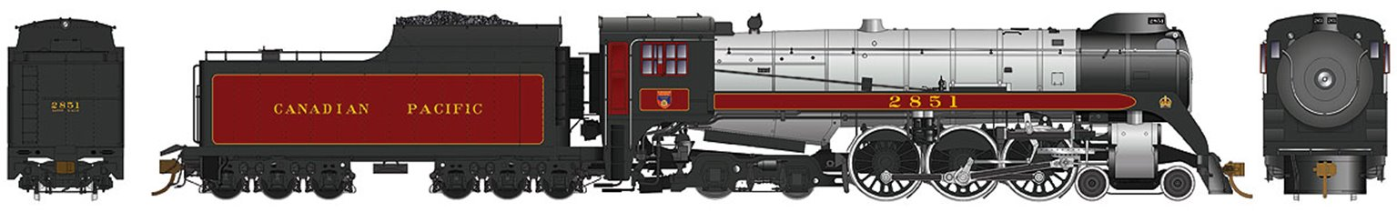 CP Class H1d 4-6-4 Royal Hudson Canadian Pacific #2851 with Oil Tender Commonwealth Trucks - DC Silent