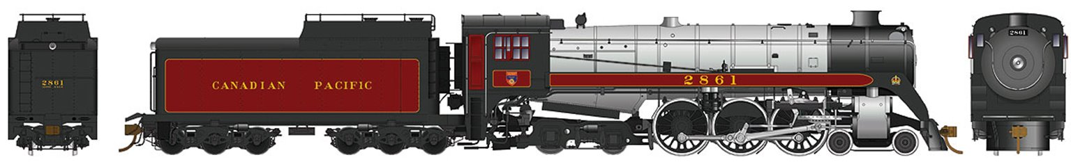 CP Class H1e 4-6-4 Royal Hudson Canadian Pacific #2861 with Oil Tender Buckeye Trucks - DC Silent