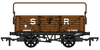SECR 1355 7 plank Open Wagon - SR brown (post-1936) with sheet rail #28666