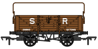 SECR 1355 7 plank Open Wagon - SR brown (post-1936) with sheet rail #28860