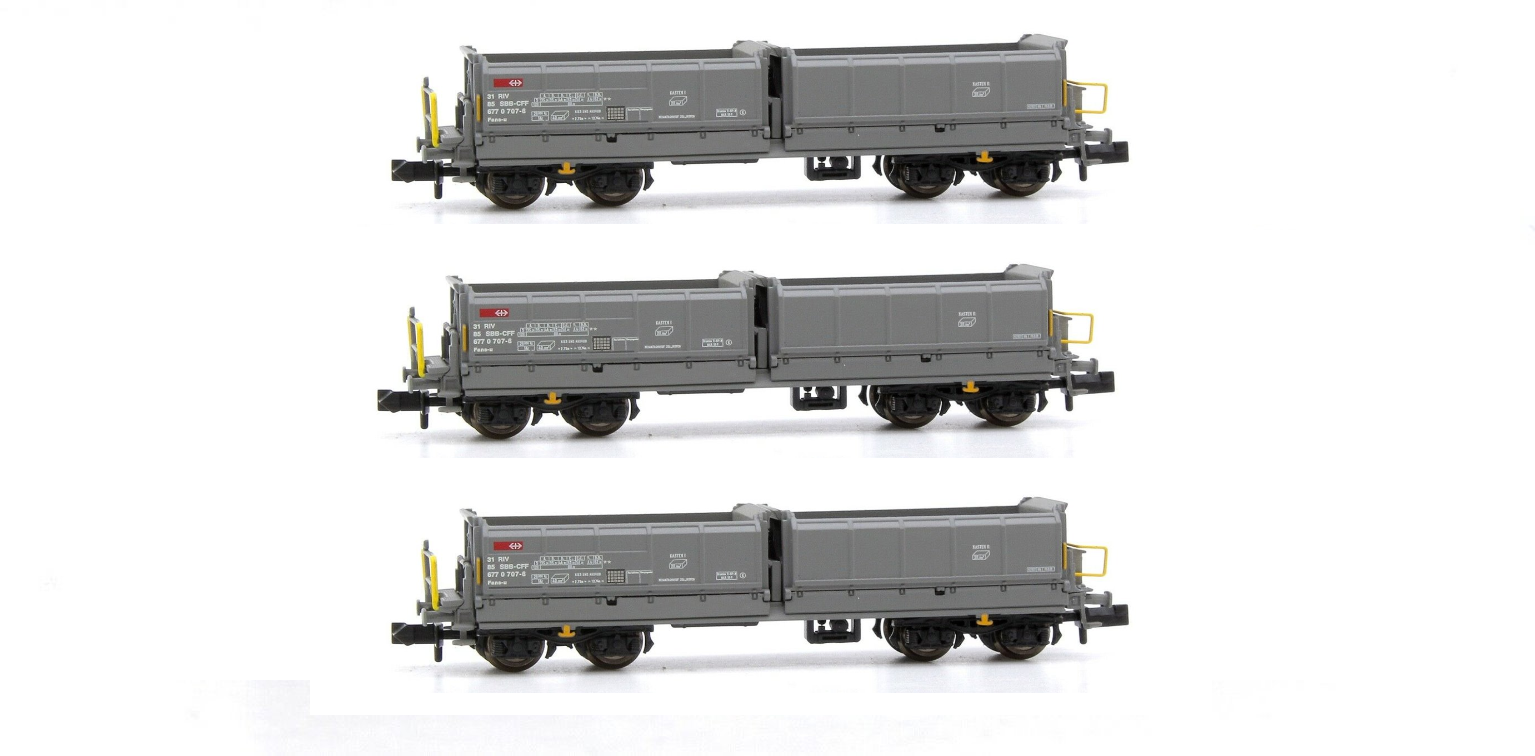 Set of 3 N Gauge Grey Tipper Wagons (SBB-CFF EP.V)