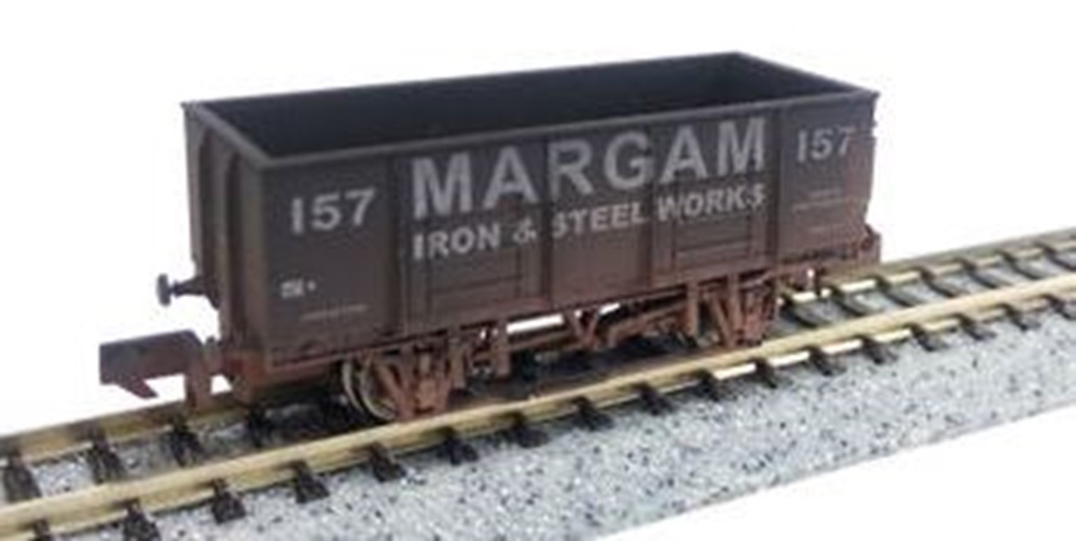 "Dapol 2F-038-026 20T Steel Mineral wagon ""Margam"" 157 - Weathered"
