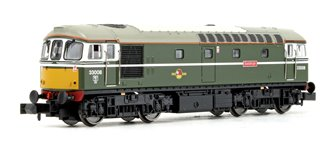 "Class 33/0 33008 ""Eastleigh"" BR Green (Yellow Front) Diesel Locomotive DCC FITTED"