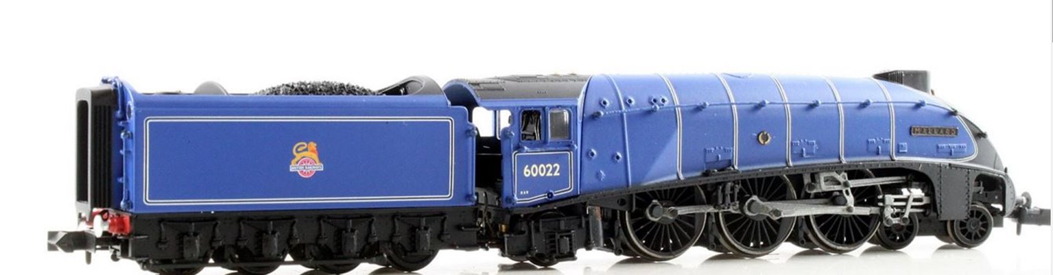 """Class A4 steam locomotive 60022 """"Mallard"""" in BR dark blue with early crest & double chimney. DCC fitted"""