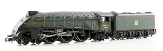 "Class A4 steam locomotive 60022 ""Mallard"" in BR green with early crest & double chimney. DCC fitted"