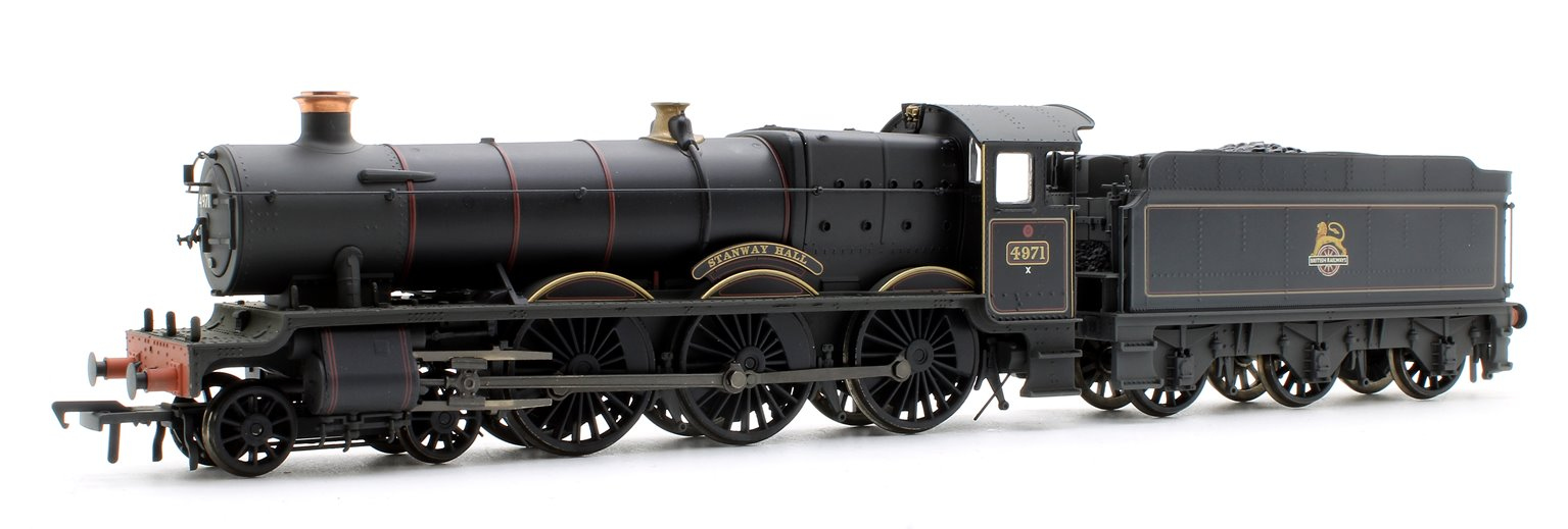 Hall Class 4971 'Stanway Hall' BR Lined Black Early Emblem (Weathered)
