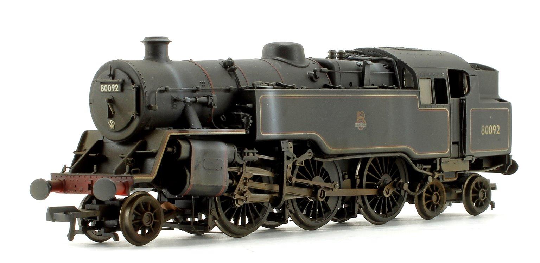 Custom Weathered BR Standard Class 4MT Tank 80092 BR Black Early Emblem 2-6-4 Tank Locomotive