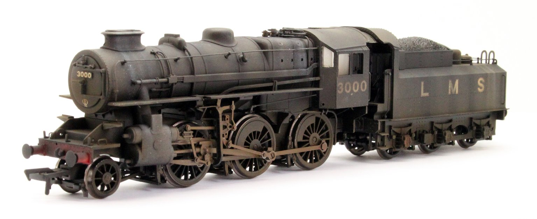 Ivatt Class 4MT LMS Black 2-6-0 Steam Locomotive 3000 - Weathered
