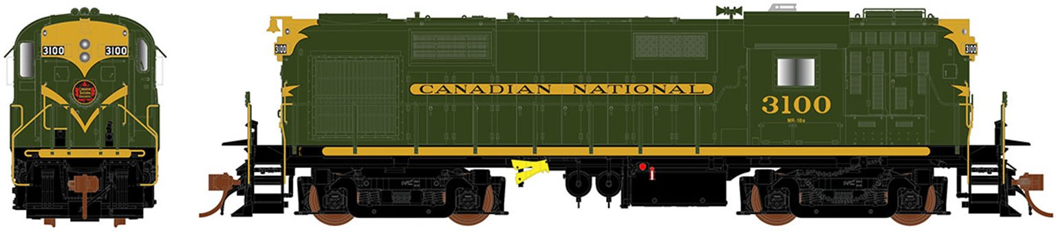 Canadian National (Green) MLW RS-18 Diesel Locomotive #3100 (DC Silent)